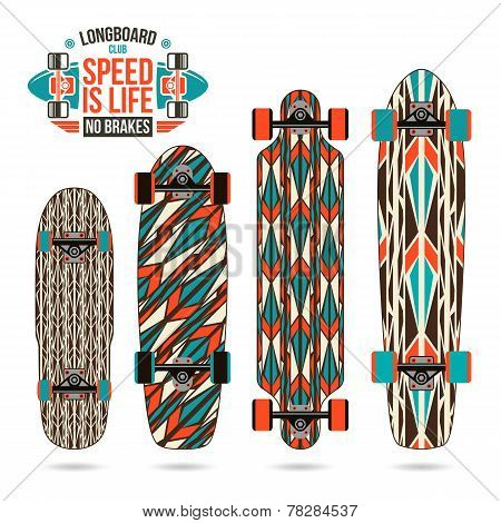 Set Of Decorative Print On Longboard