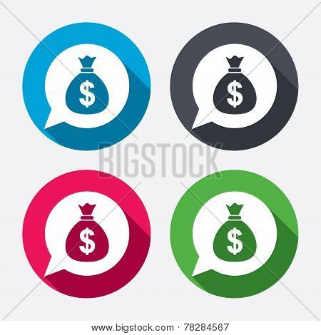 Money bag sign icon. Dollar USD currency.
