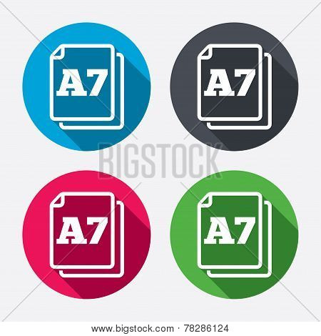 Paper size A7 standard icon. Document symbol.