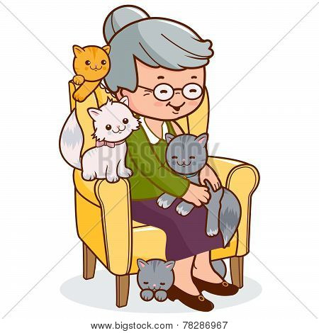 Old woman sitting in armchair with cats