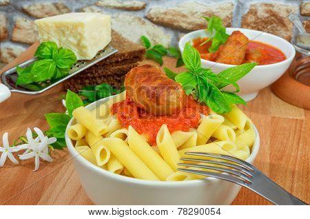 Rigatoni Italian Pasta With Tomato Sauce