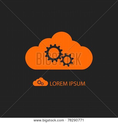 Orange Cloud With Gear Wheels On Black Background