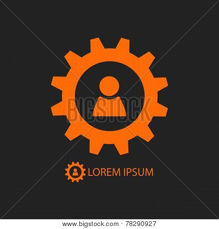 Orange Gear Wheel And Person Sign As Logo On Black
