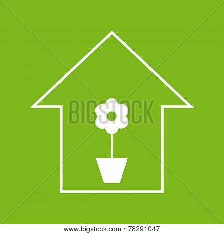 House With Plant. White On Green