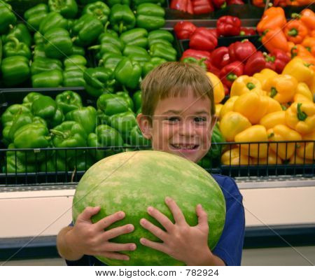 Boy Holding Watermelon