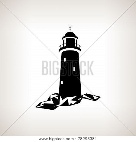 Silhouette Lighthouse On A Light Background , Vector Illustration