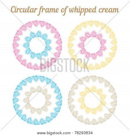 Whipped cream and circular frame. Vector set.
