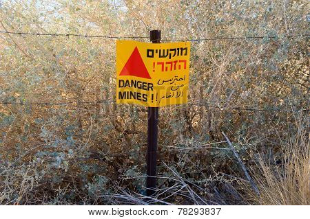 Warning Sign With Danger Mines