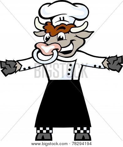 Hand-drawn Vector Illustration Of An Happy Bull Chef Standing And Welcome
