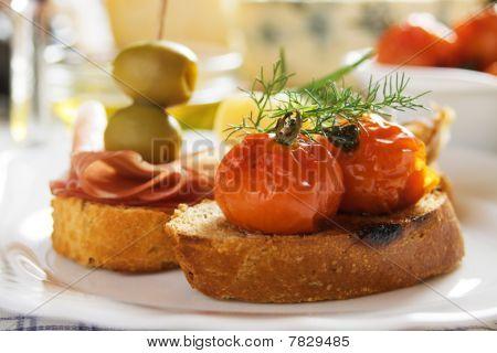 Bruschetta With Fried Tomato