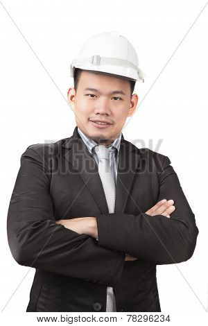 Face Of Asian Man Civil Engineer Of Construction Industry Business Isolated White Background