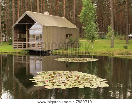 Modern wooden house in nature