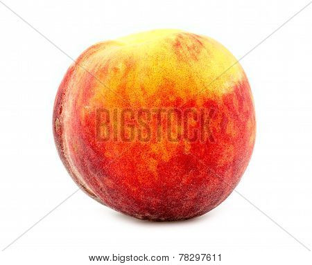 Colorful, Fresh And Juicy Orange Peach Isolated On White Background In Studio