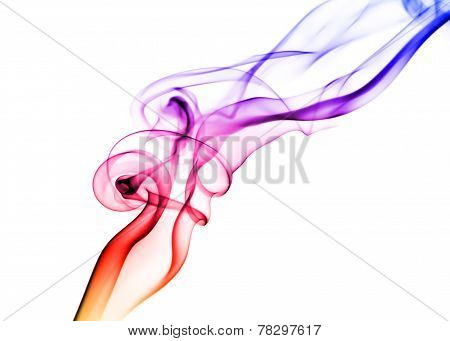 Colored Smoke On White