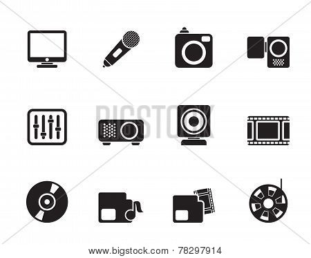 Silhouette Media equipment icons