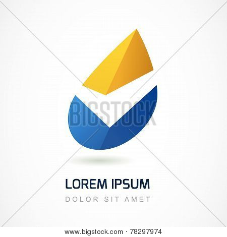 Abstract Logo Design Template. Yellow And Blue Oil Industry Drop Icon. Business,  Technology, Nature