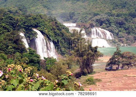 Ban Gioc Waterfall In Vietnam And Datian Waterfall In China.