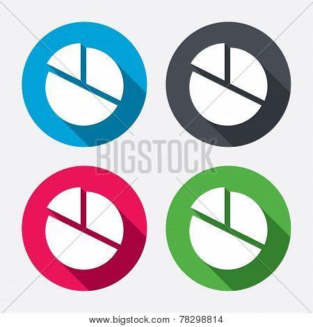 Pie chart graph sign icon. Diagram button.