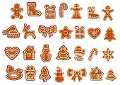 stock photo of gingerbread man  - Big Christmas cookies collection with gingerbread figures of snowmans - JPG