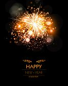 stock photo of happy new year 2014  - Happy New Year fireworks background concept easy editable - JPG