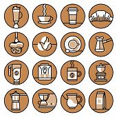 stock photo of frappe  - Coffee icons brown line set with frappe hot paper cup croissant isolated vector illustration - JPG
