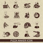 stock photo of hot fresh pizza  - Pizza maker icon black set with perfect italian ingredients hot slice isolated vector illustration - JPG