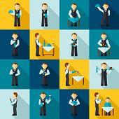 picture of waiter  - Waiter man avatars in cafe restaurant icon flat set isolated vector illustration - JPG