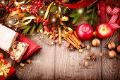 stock photo of hazelnut  - Christmas food border design - JPG