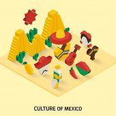 picture of pinata  - Mexican decorative icon isometric concept with pyramid guitar maraca vector illustration - JPG