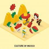image of maracas  - Mexican decorative icon isometric concept with pyramid guitar maraca vector illustration - JPG