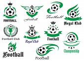 stock photo of crown  - Set of football emblems and logos for sport club - JPG