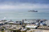 stock photo of alcatraz  - Alcatraz and San Francisco harbor California USA  - JPG