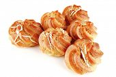 picture of eclairs  - fresh creamy eclair cakes served on white - JPG