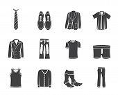 stock photo of habilis  - Silhouette man fashion and clothes icons  - JPG