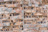 foto of mortar-joint  - The old brick wall with rich texture - JPG