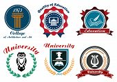 stock photo of owls  - University and college emblem or logo in retro style with symbols of education owl - JPG