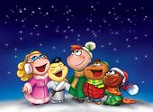 stock photo of christmas song  - Illustration of five happy children from different countries are singing in Christmas night - JPG