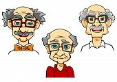 stock photo of bald man  - Portraits of joyful bald mustached cartoon old men with glasses and bow tie isolated on white background - JPG