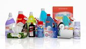 foto of household  - 3D collection of household cleaning products isolated on white background  - JPG