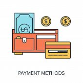 pic of payment methods  - Vector illustration of payment methods flat line design concept - JPG