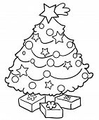 image of comet  - Coloring Christmas tree with comet and gifts - JPG