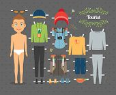 picture of boy scout  - Cute Tourist Boy Paper Doll with Set of Clothes and Shoes for Hiking on Seamless Gray Background - JPG