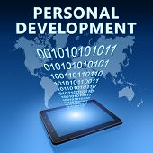 picture of self assessment  - Personal Development illustration with tablet computer on blue background - JPG