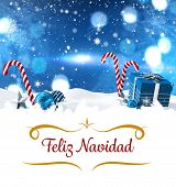 picture of candy cane border  - border against christmas scene with gifts and candy canes - JPG