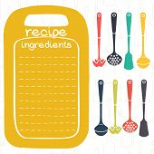 stock photo of recipe card  - Recipe card design with kitchen utensils and frame in shape of cutting board - JPG
