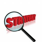 foto of marketing strategy  - concept idea with the word strategy and a magnifying glass - JPG