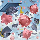 foto of graduation hat  - Education savings concept as a group of mortarboards or graduation hats thrown in the air with ceramic piggybanks flying up in the sky as a financial icon and the costs of school tuition and private learning symbol - JPG