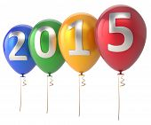 stock photo of helium  - 2015 New Year balloons party decoration - JPG