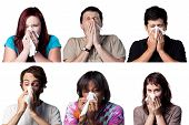 stock photo of avian flu  - Group of people sneezing using a tissue paper - JPG