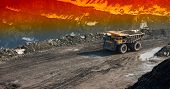 picture of iron ore  - Truck delivery by the motor transport of iron ore from a pit - JPG
